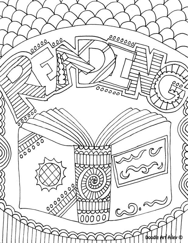 Coloring Sheets For Girls Binders  school subject coloring page notebook cover reading