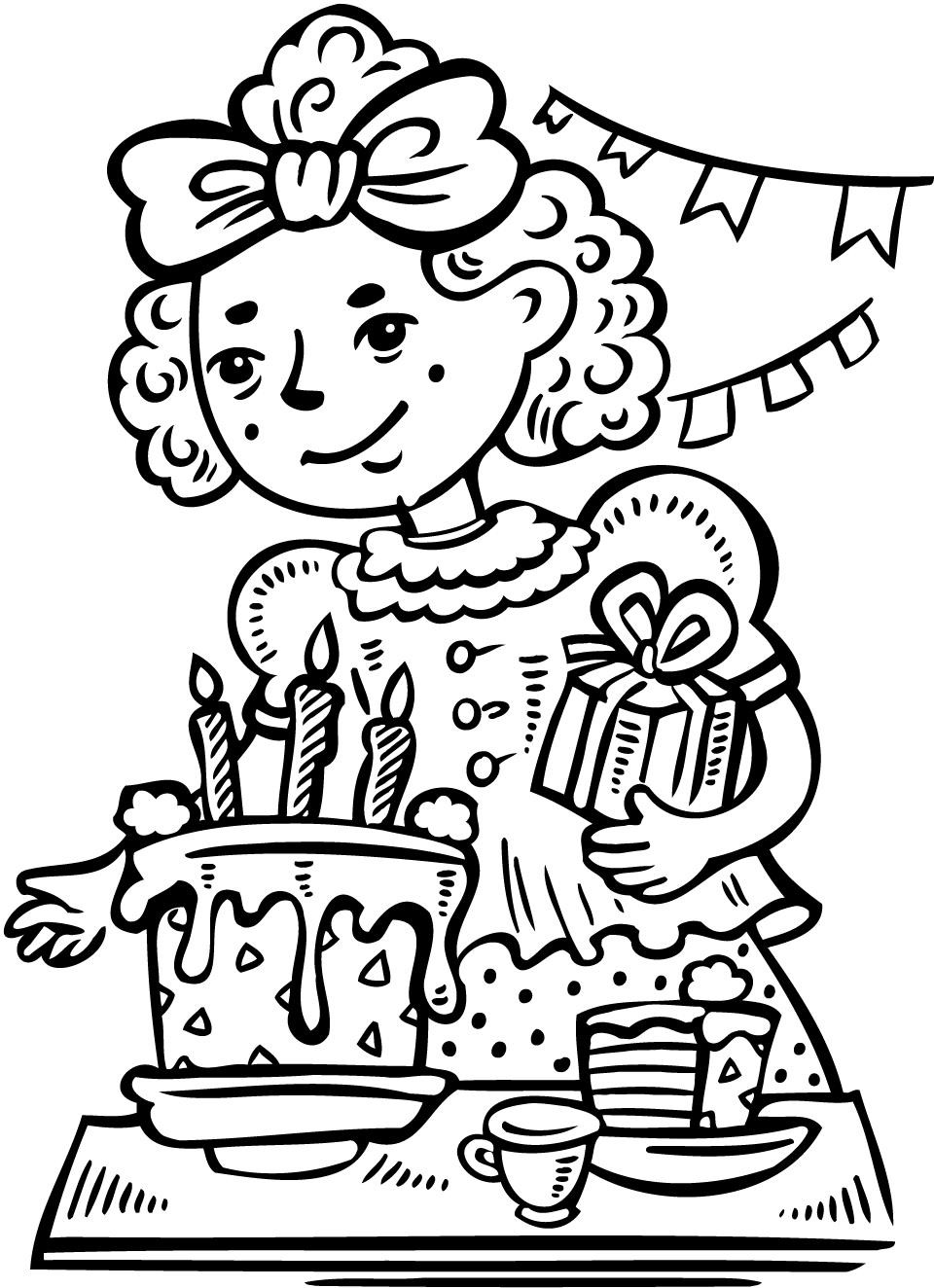 Coloring Sheets For Girls Birthday 10  printable girls birthday party color page for kids