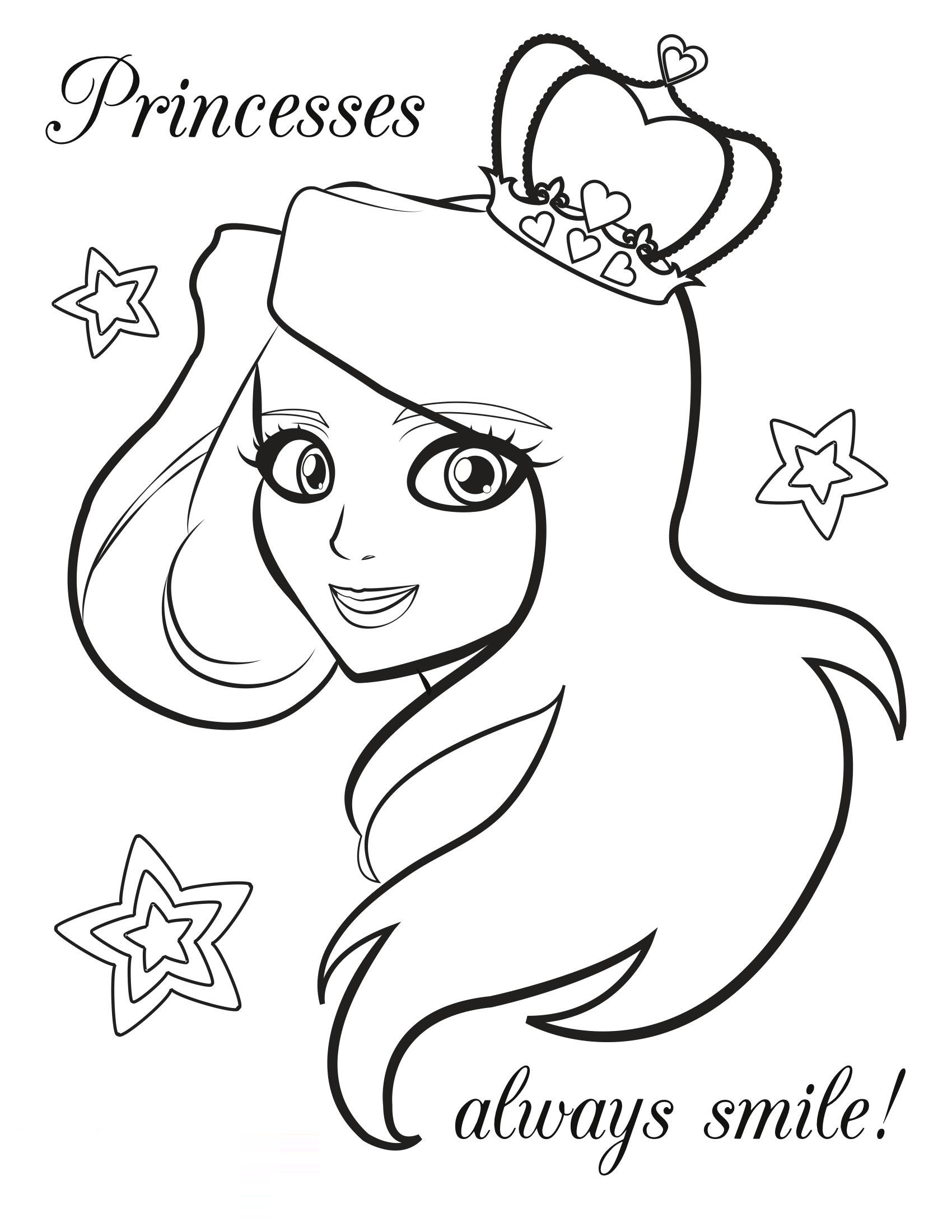 Coloring Sheets For Girls Free Printable  2014 free coloring pages of princess to print for girls