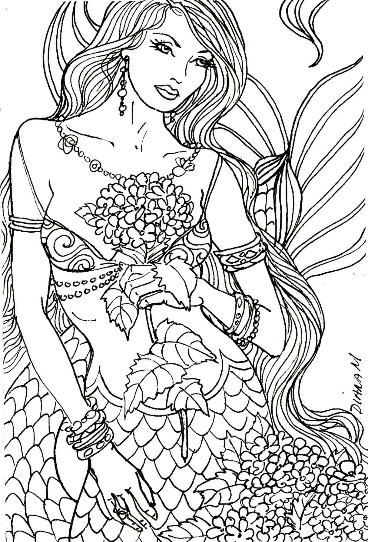 Coloring Sheets For Girls Mermairds  10 Gorgeous Free Adult Coloring Pages