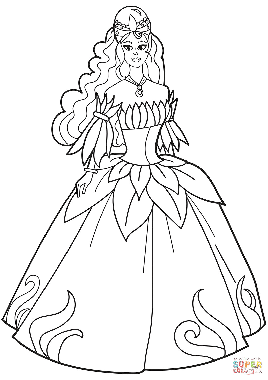Coloring Sheets For Girls Princess Dresses  Princess in Flower Dress coloring page