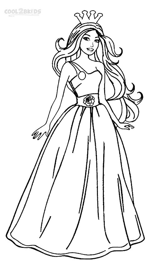 Coloring Sheets For Girls Princess Dresses  Printable Barbie Princess Coloring Pages For Kids