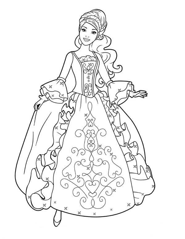 Coloring Sheets For Girls Princess Dresses  Aramina in Beautiful Ball Dress Princes Coloring Game for