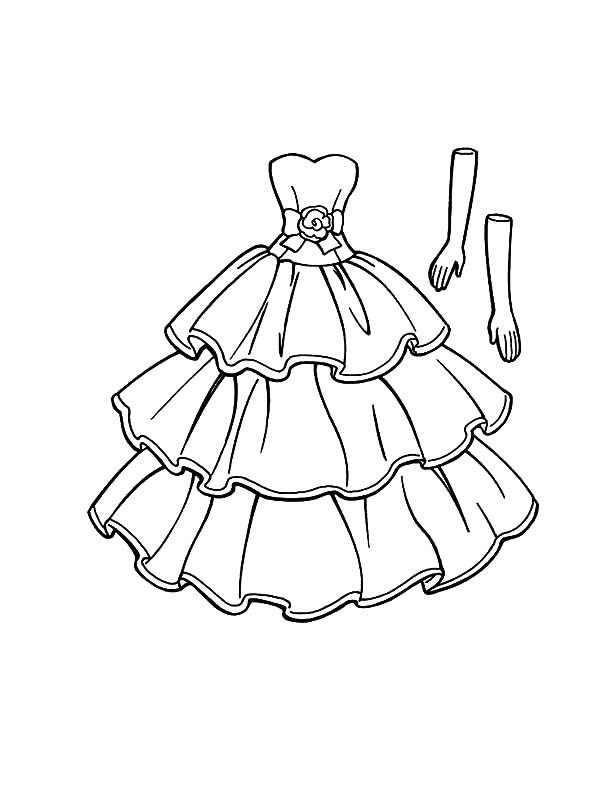 Coloring Sheets For Girls Princess Dresses  Princess Doll Dress Coloring Pages Coloring Sky Doll Dress