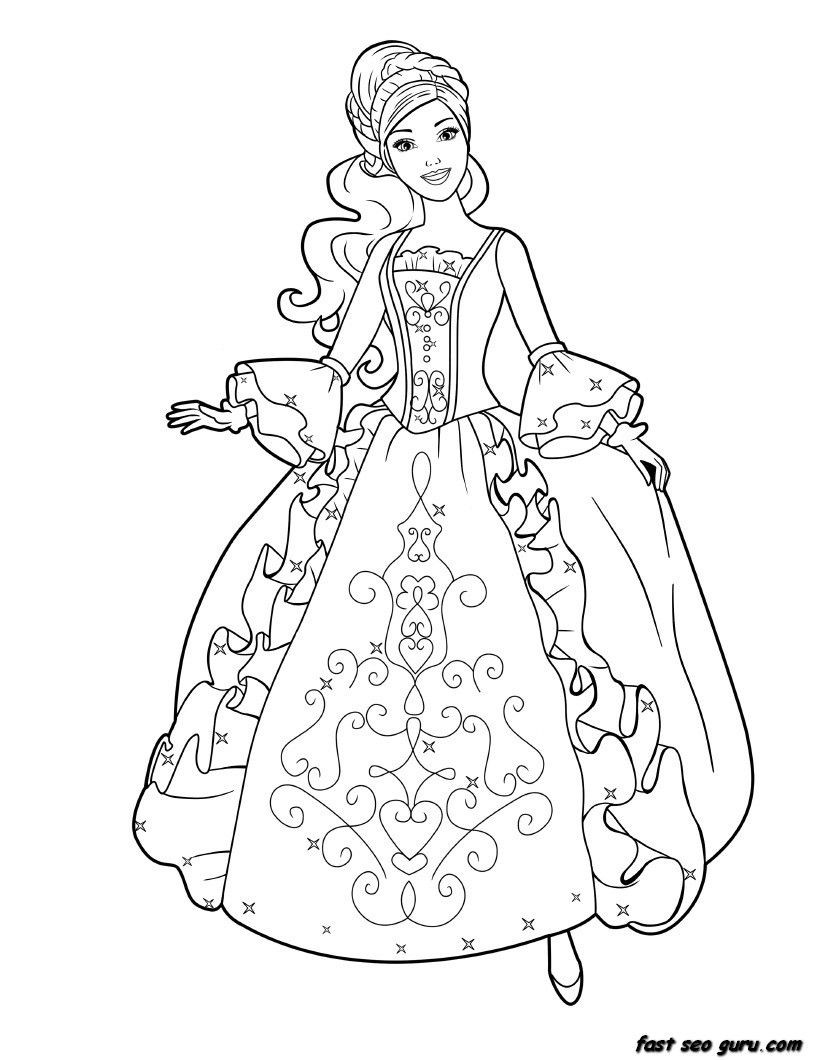 Coloring Sheets For Girls Princess Dresses  coloring page child princess