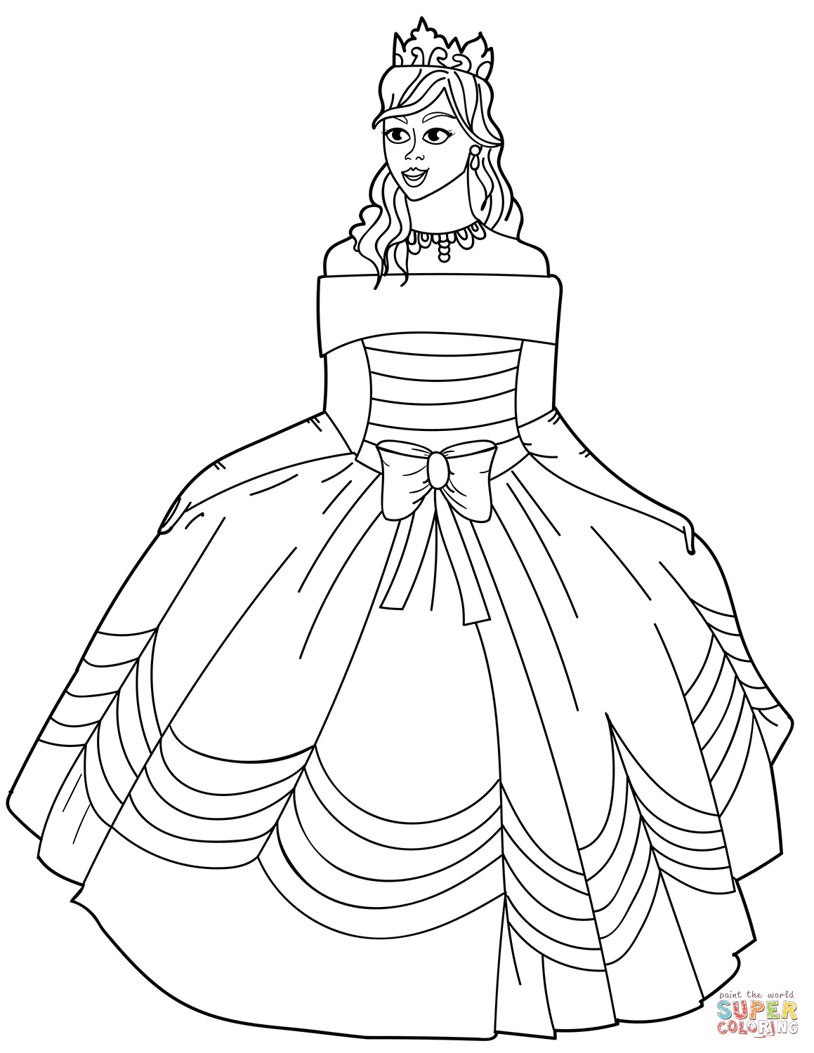 Coloring Sheets For Girls Princess Dresses  Princess in Ball Gown f the Shoulder Dress coloring page