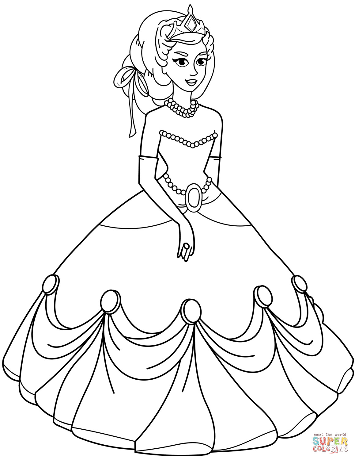 Coloring Sheets For Girls Princess Dresses  Princess in Ball Gown Dress coloring page