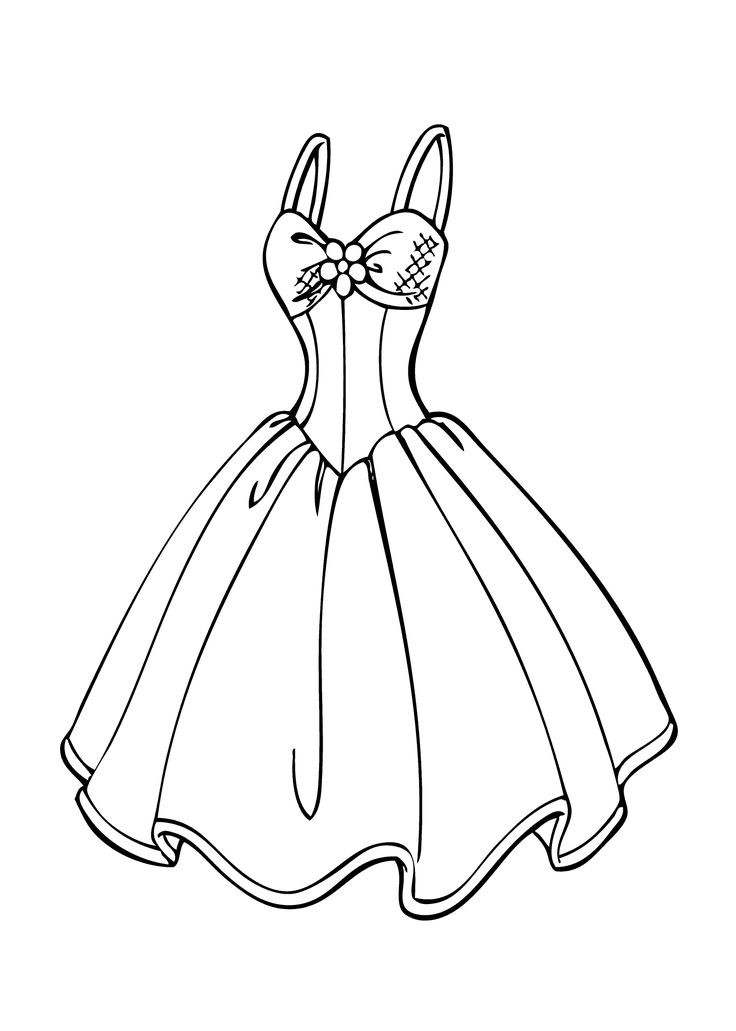 Coloring Sheets For Girls Princess Dresses  Wedding dress coloring page for girls printable free