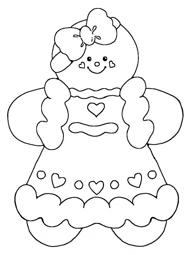 Coloring Sheets For Girls Printable Chistmas  Gingerbread Girl Coloring Page AZ Coloring Pages