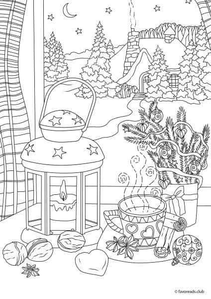 Coloring Sheets For Girls Printable Chistmas  Christmas Joy Winter Night Printable Adult Coloring