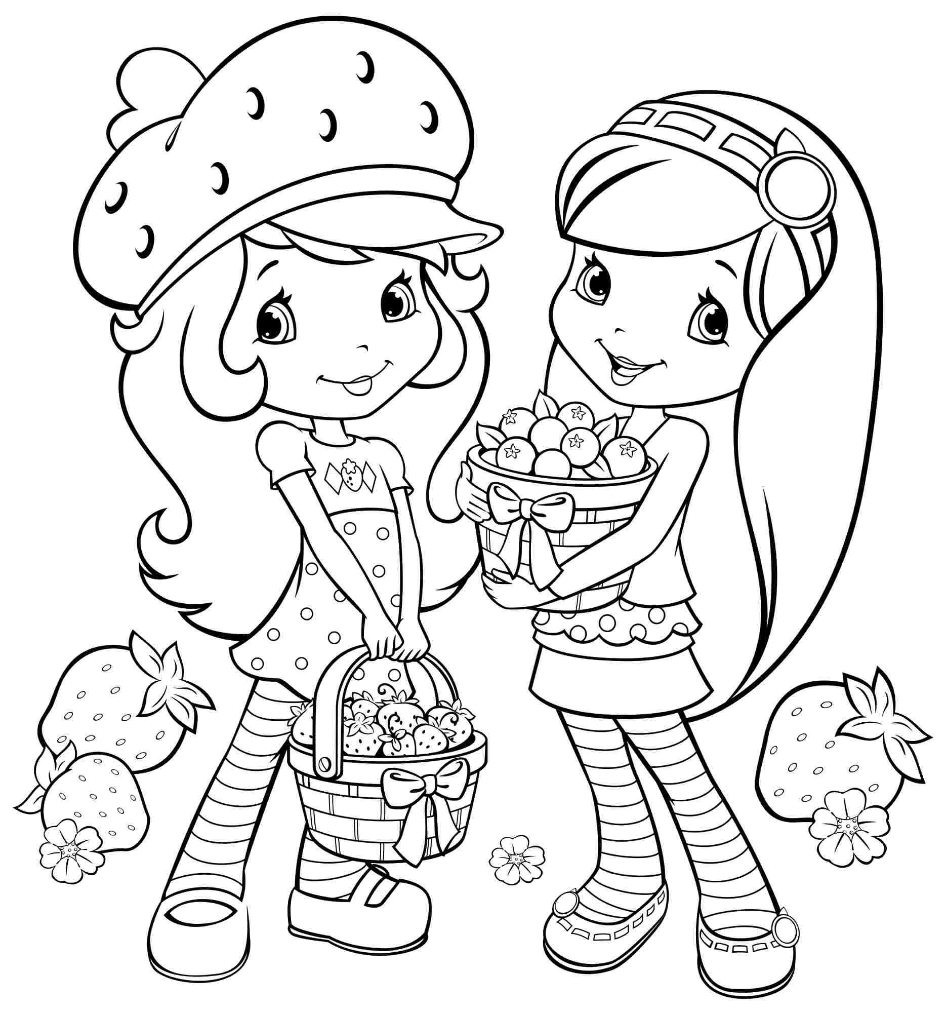 Coloring Sheets For Girls Strawberry Shortcake  Printable Coloring Pages Cartoon Strawberry Shortcake And