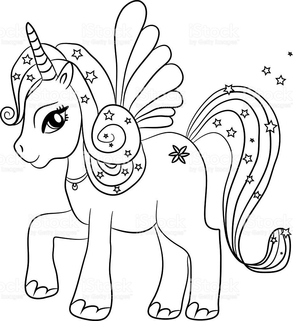 Coloring Sheets For Girls Unicorn  Black and white coloring sheet