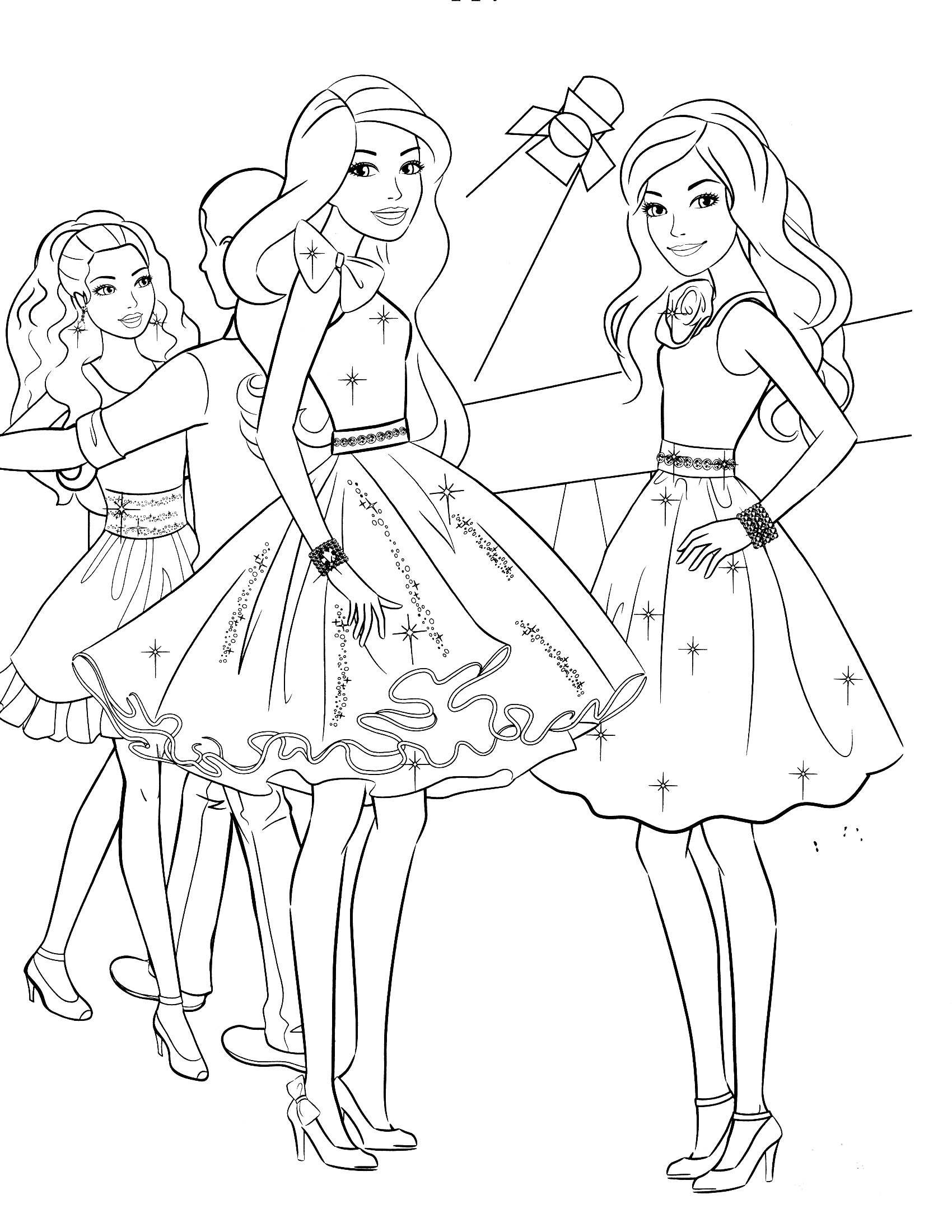 Coloring Sheets For Girls With The Words Dream  Coloriage Barbie au bal à imprimer