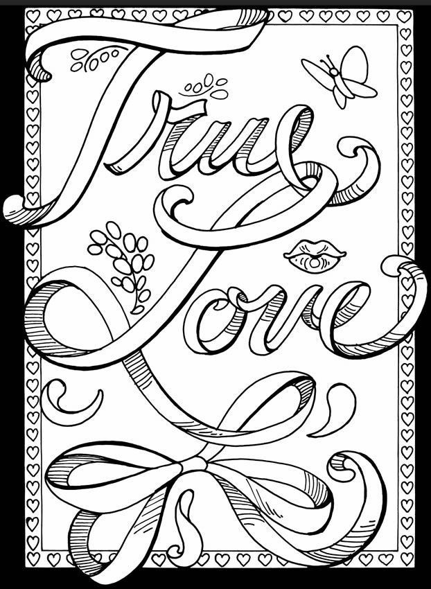 Coloring Sheets For Girls With The Words Dream  Printable Love Coloring Pages For Adults Coloring Panda