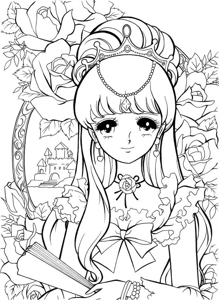 Coloring Sheets For Girls With The Words Dream  少女マンガ風の塗り絵(ぬりえ)テンプレート 画像 まとめ NAVER まとめ