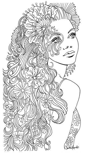 Coloring Sheets For Girls With The Words Dream  Woman by Christine Kerrick Coloriage