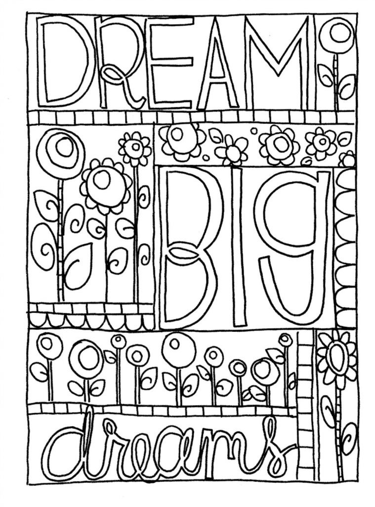 Coloring Sheets For Girls With The Words Dream  Doodle Coloring Pages Best Coloring Pages For Kids