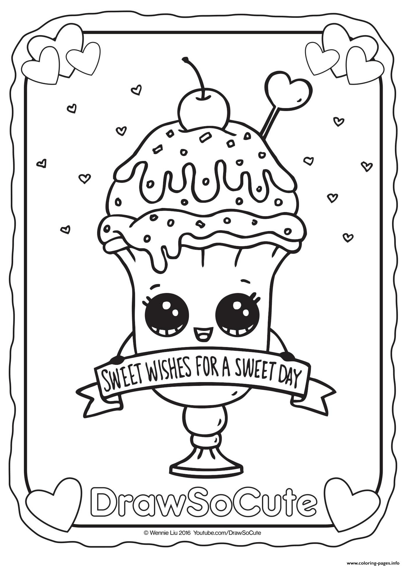 Coloring Sheets For Kids And Girls Printable Sundae  Valentine Ice Cream Sundae Draw So Cute Coloring Pages