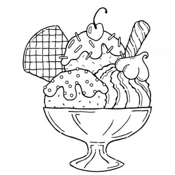 Coloring Sheets For Kids And Girls Printable Sundae  Best Ice Cream Clipart Black And White 9894 Clipartion