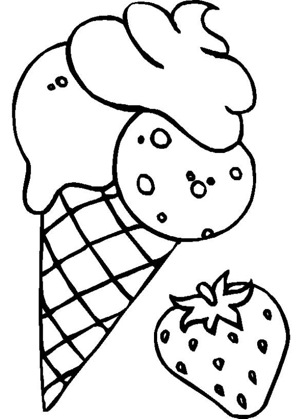 Coloring Sheets For Kids And Girls Printable Sundae  Strawberry Flavoured Ice Cream Coloring Page
