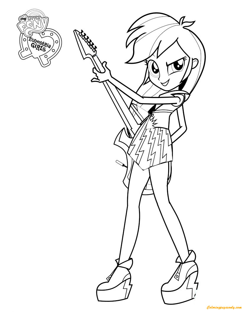 Coloring Sheets For Kids Equestria Girls  Rainbow Dash Equestria Girl Coloring Page Free Coloring