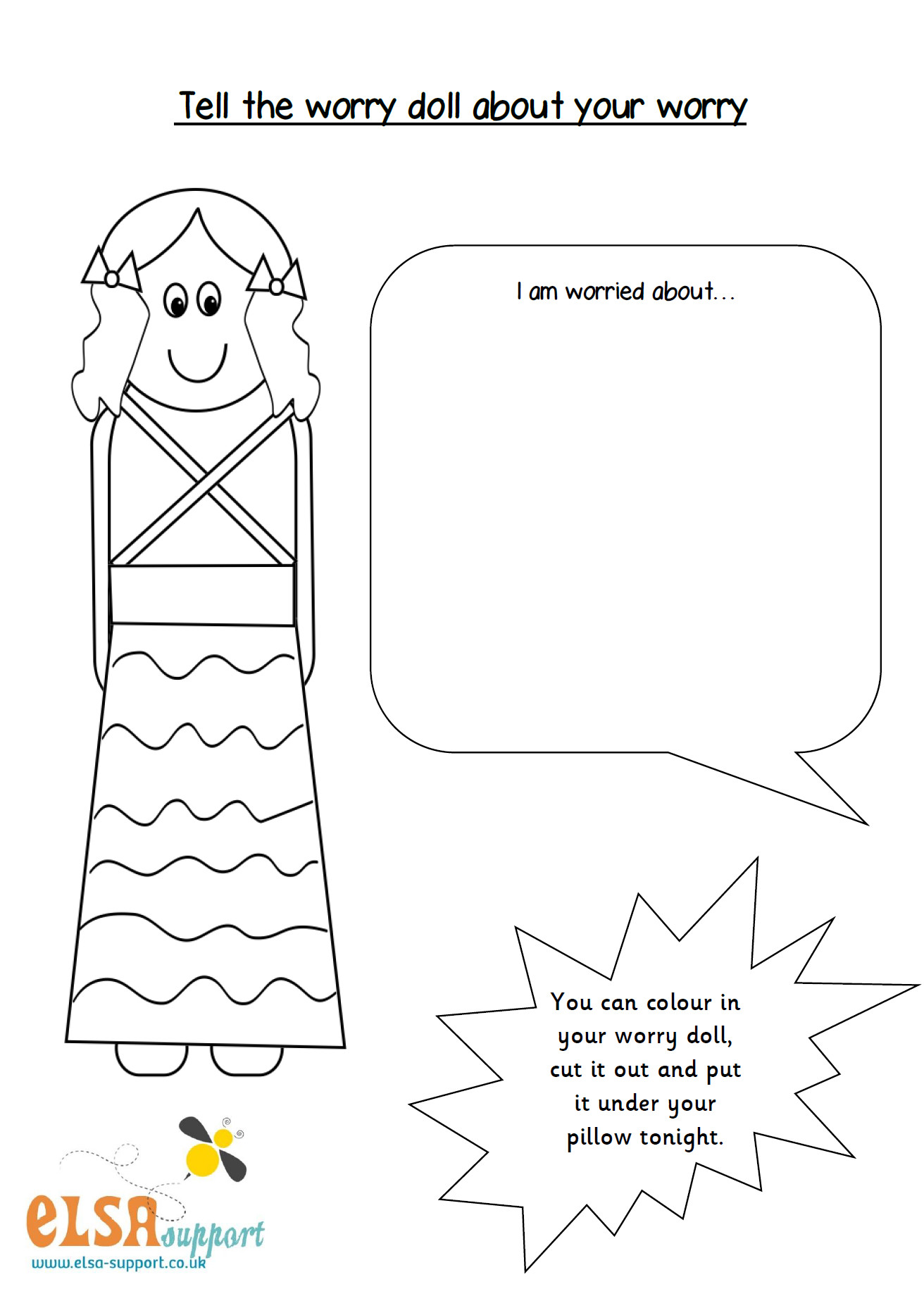 Coloring Sheets For Kids On Worrying  Worry Doll worksheet Elsa Support