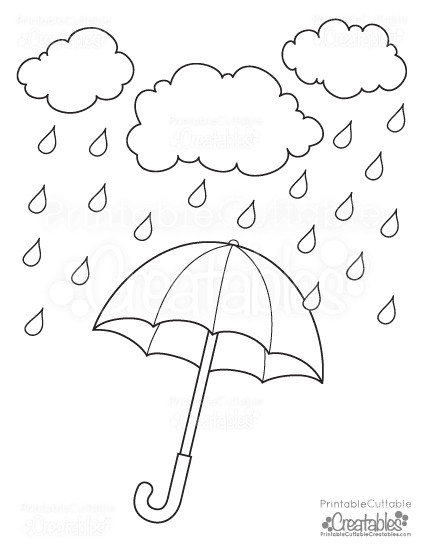 Coloring Sheets For Kids Rainy Days  Rainy Day Umbrella Free Printable Coloring Page