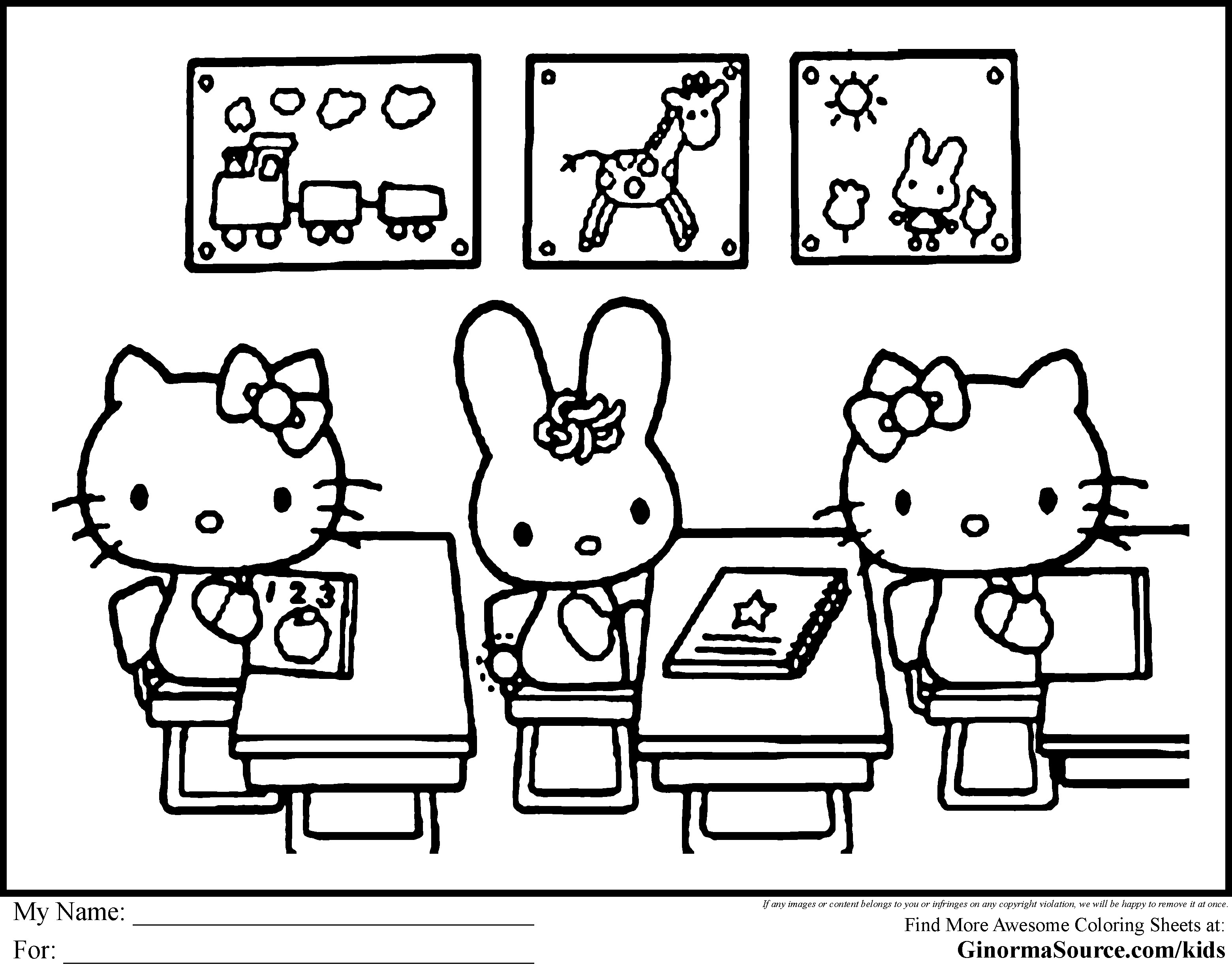 Coloring Sheets For Kids School Time  Coloring Pages Hello Kitty e Hundred Days