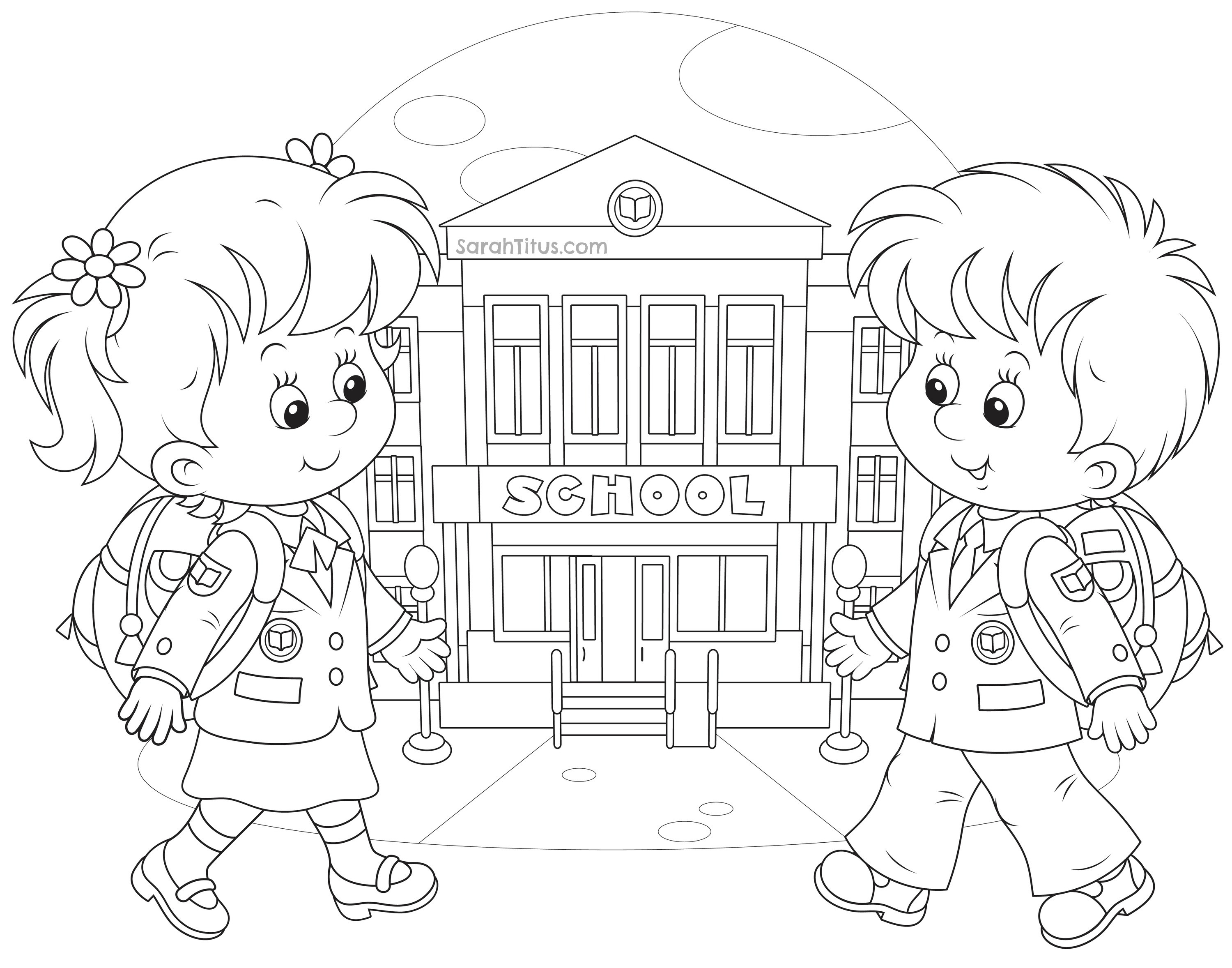 Coloring Sheets For Kids School Time  Back to School Coloring Pages Sarah Titus