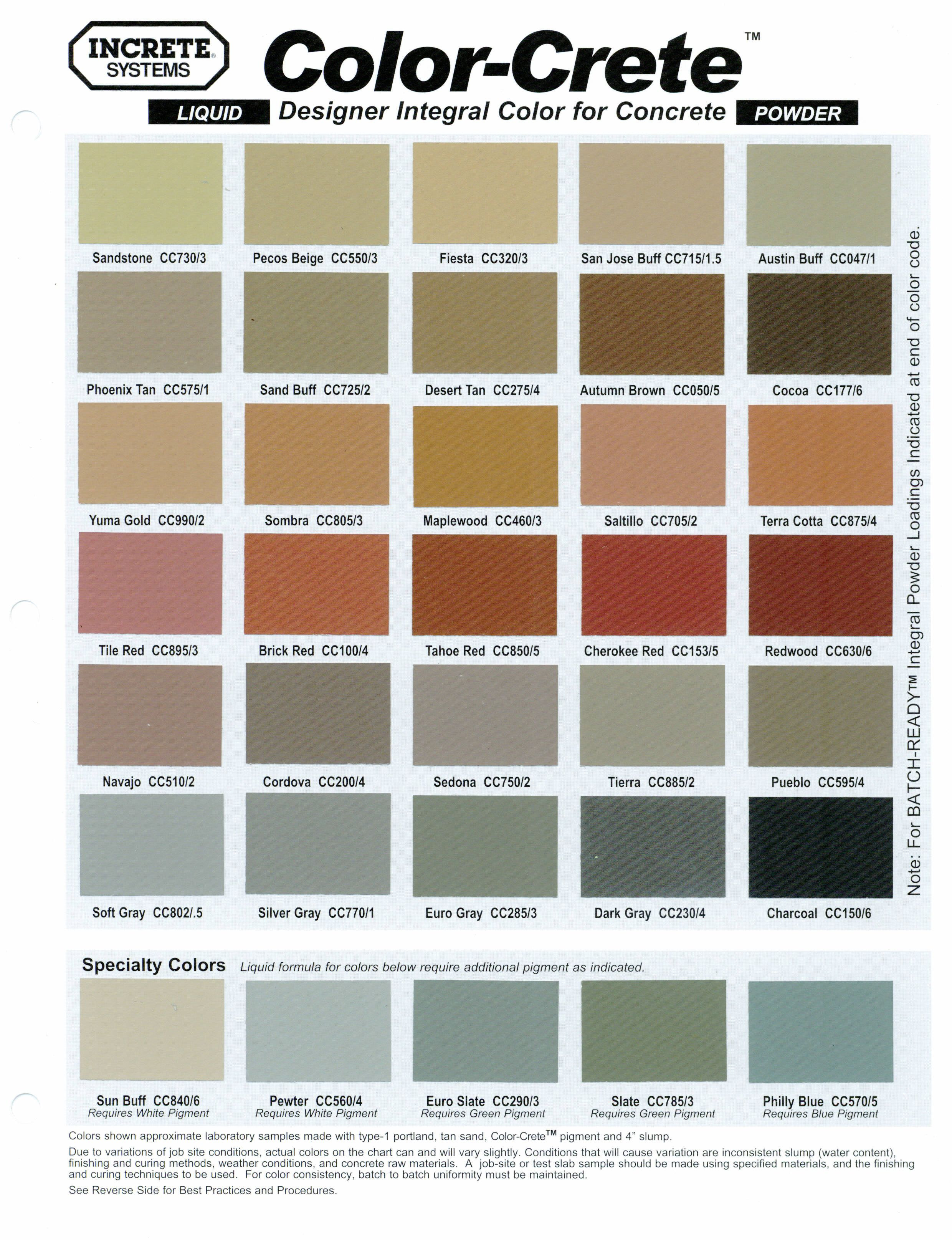 Best ideas about Concrete Paint Colors . Save or Pin Concrete Stamping Color Chart Lisa garden Now.