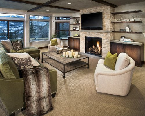 Best ideas about Contemporary Family Room . Save or Pin Floating Shelves Beside Fireplace Now.