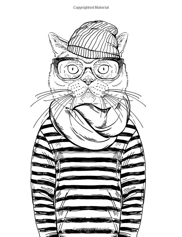 Cool Adult Coloring Pages  Cool Cats Colouring Book Elizabeth James