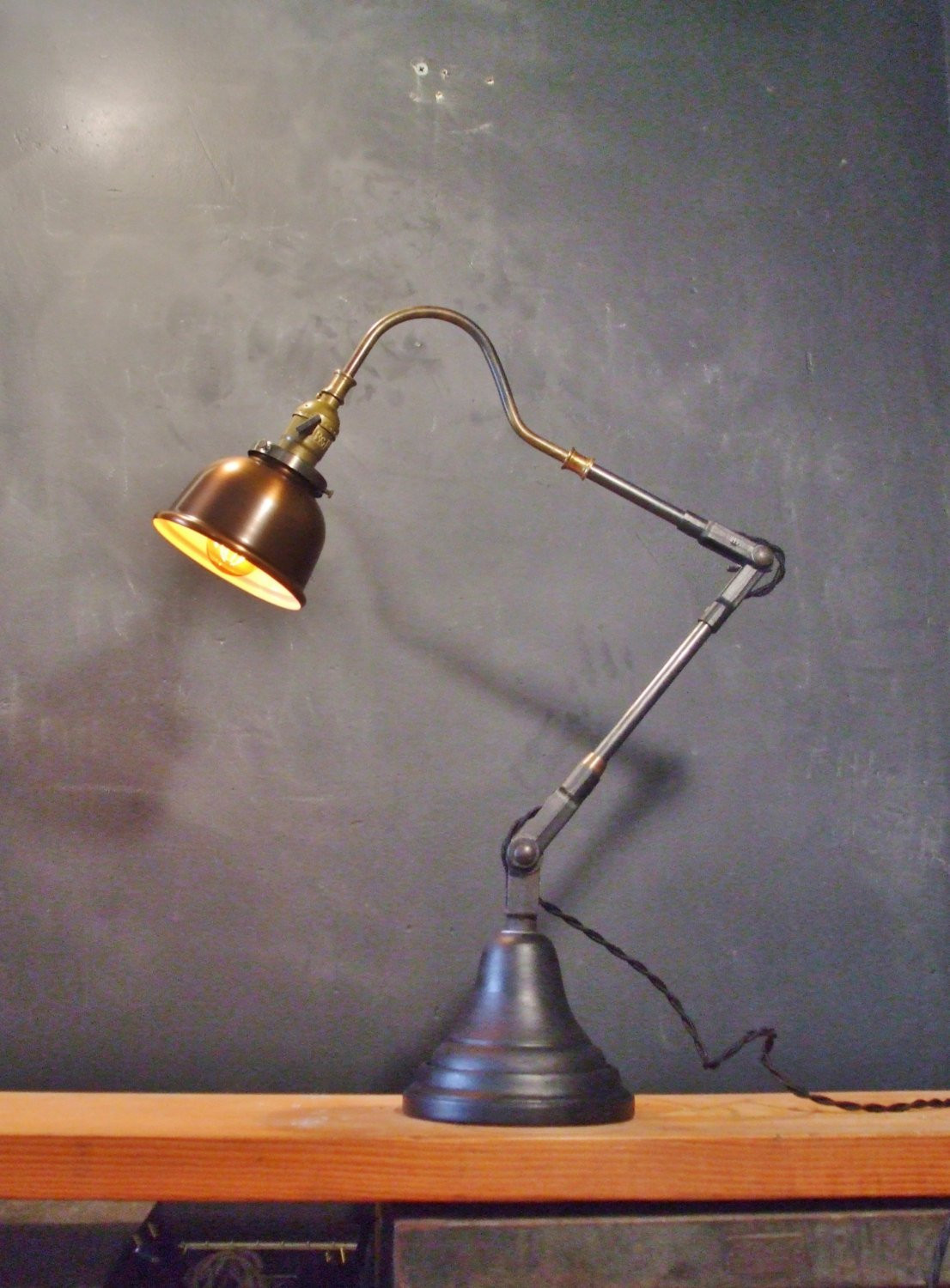 Best ideas about Copper Desk Lamp . Save or Pin Vintage Industrial Desk Lamp w Copper Shade Pharmacy Lamp Now.