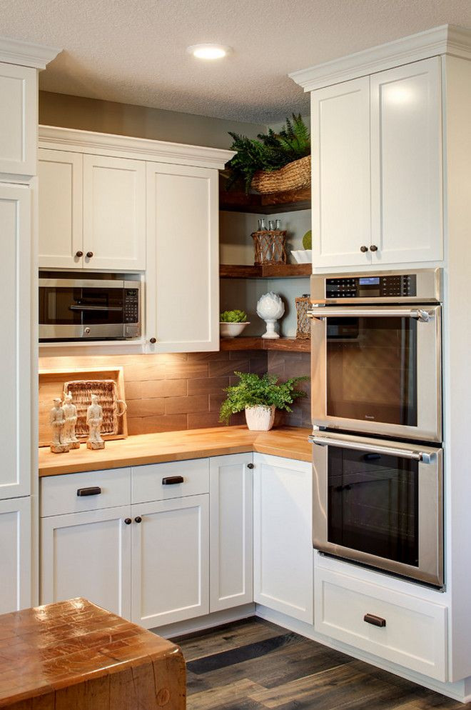 Best ideas about Corner Kitchen Ideas . Save or Pin Open shelving with generous face frame size for tight Now.