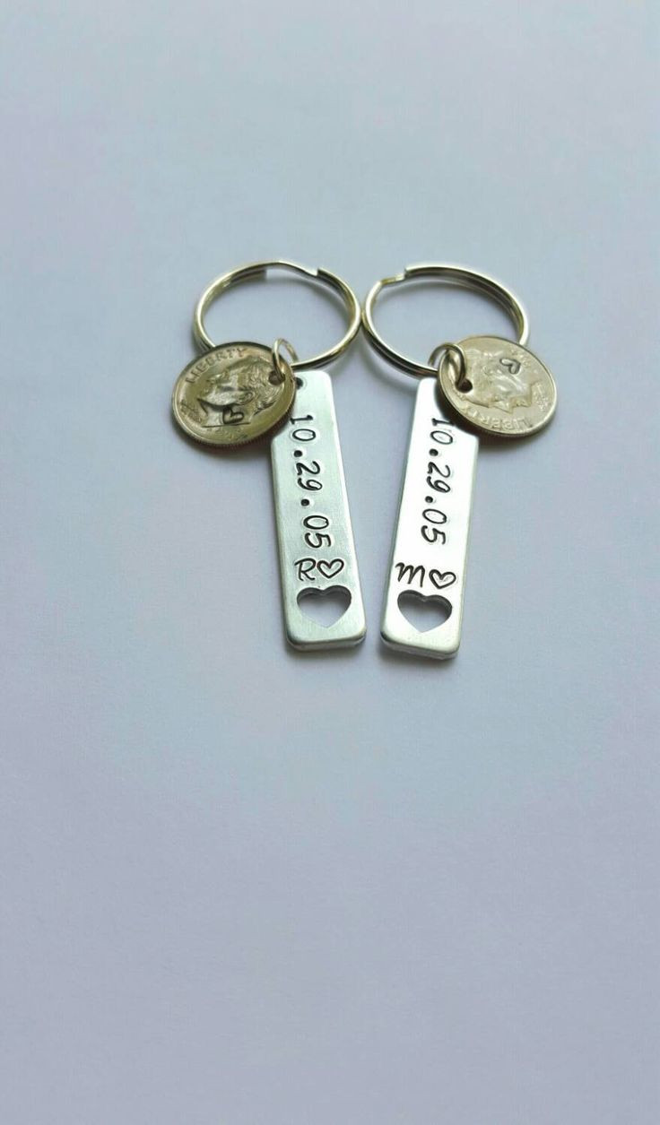 Best ideas about Couple Gift Ideas For Him . Save or Pin 10 year anniversary t for him stamped dime keychains Now.