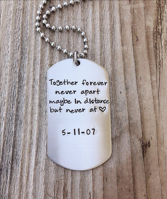 Best ideas about Couple Gift Ideas For Him . Save or Pin Long Distance Relationship Custom dog tag hand stamped Now.