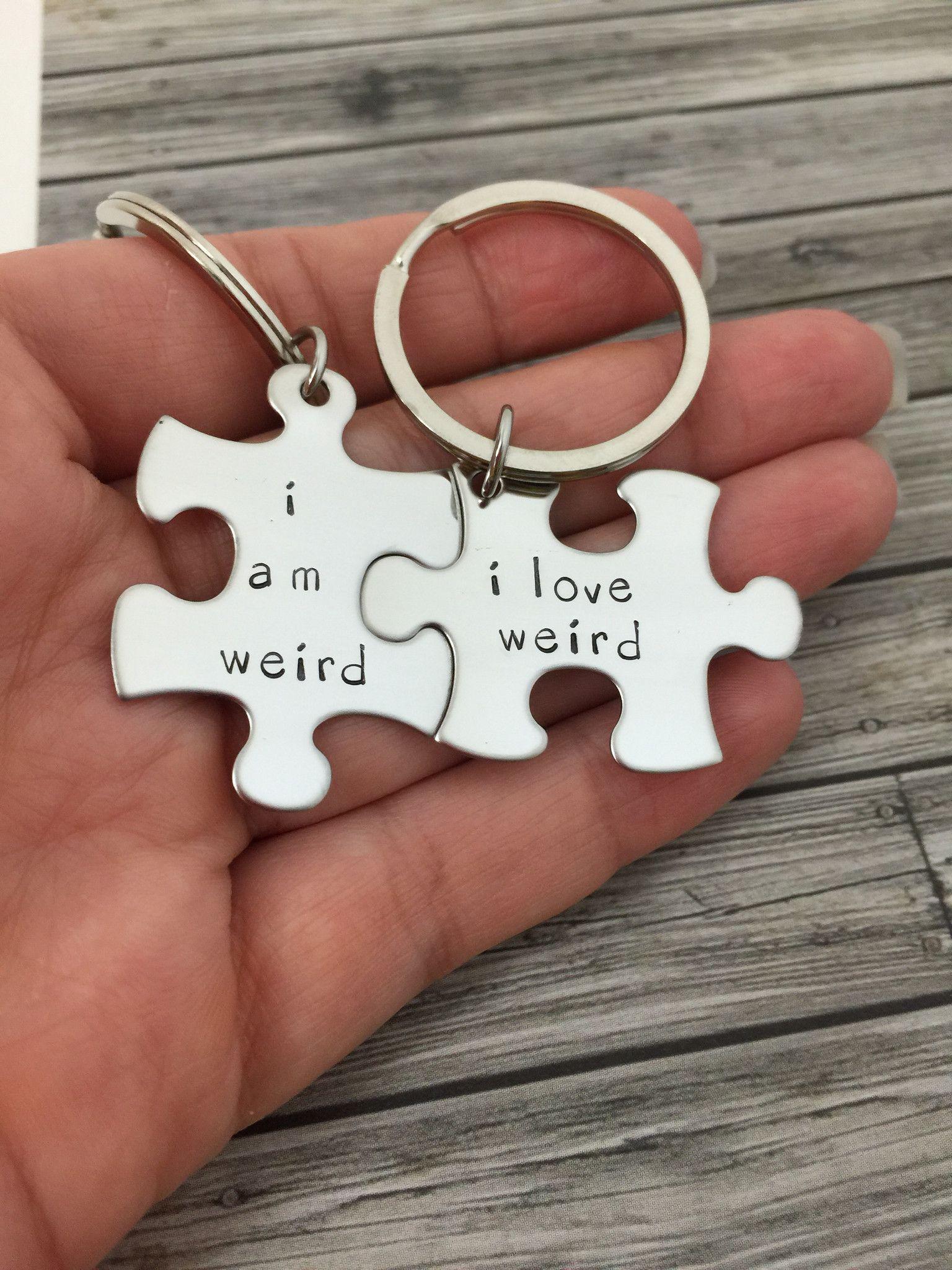 Couple Gift Ideas Your Boyfriend  I am weird I love weird Couples Keychains Couples Gift