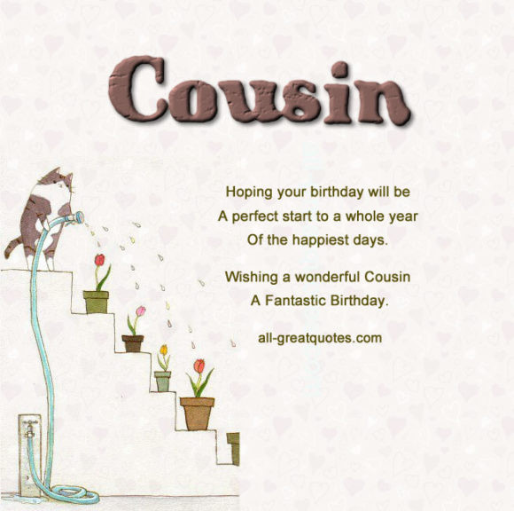 Cousin Birthday Quotes  Free Birthday Card for Cousin Brother