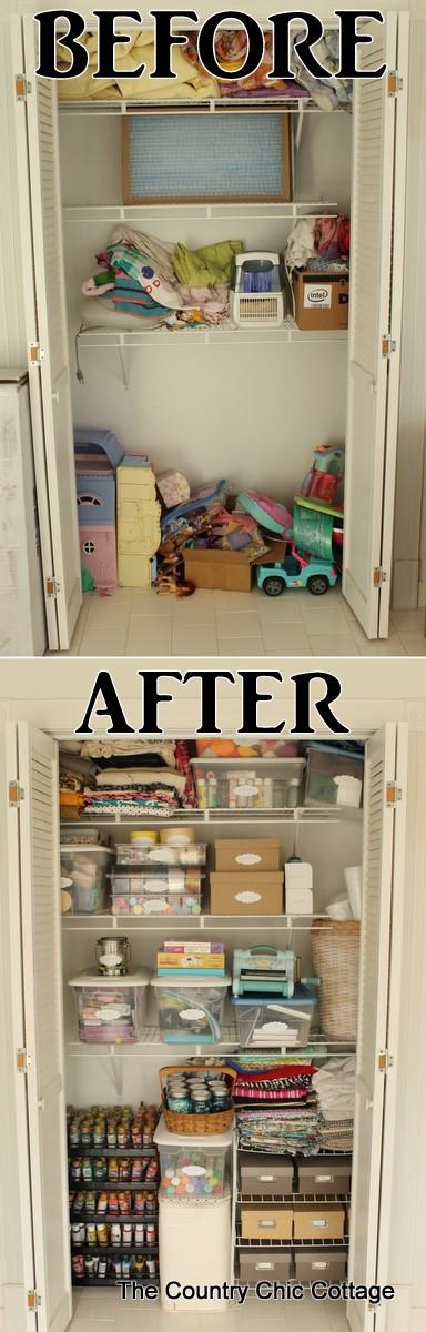 Craft Closet Organization Ideas  Organized Craft Closet The Country Chic Cottage