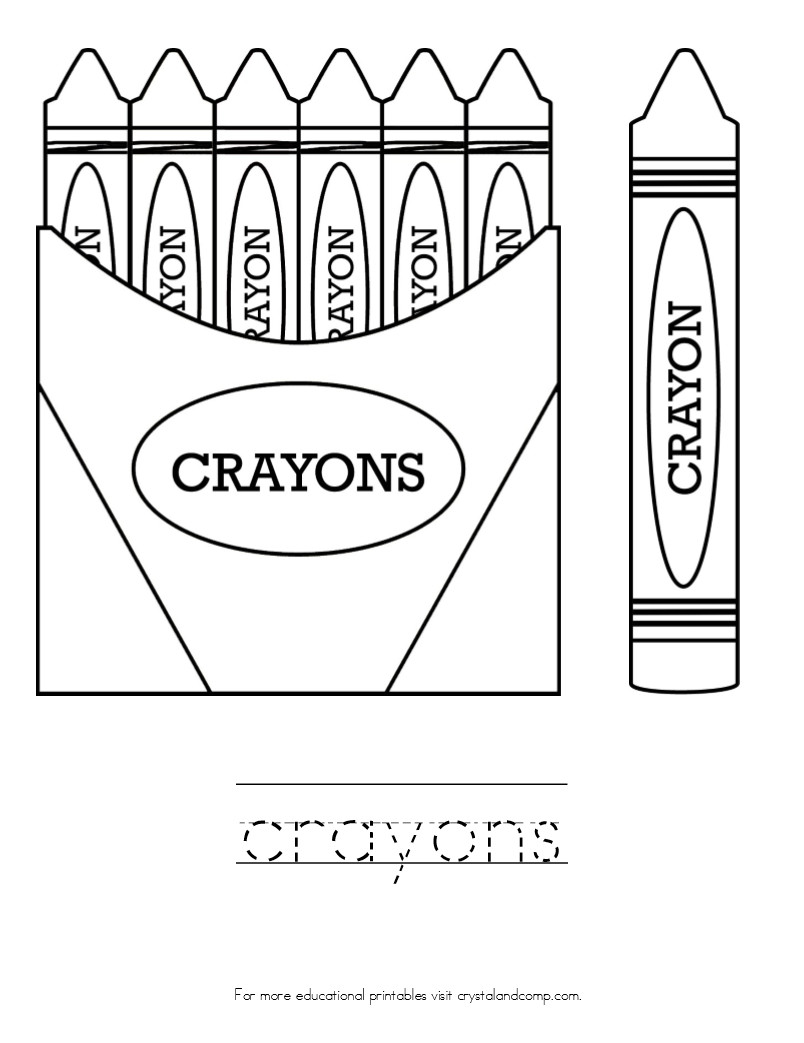 Crayon Coloring Pages  Kid Color Pages Back to School