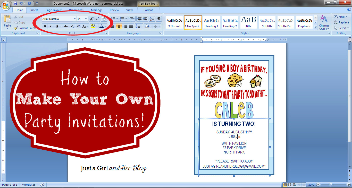 Create Birthday Party Invitations  How to Make Your Own Party Invitations Just a Girl and