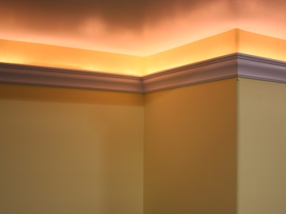 """Best ideas about Crown Molding Lighting . Save or Pin 5"""" Glue Crown Molding with light channel Now."""