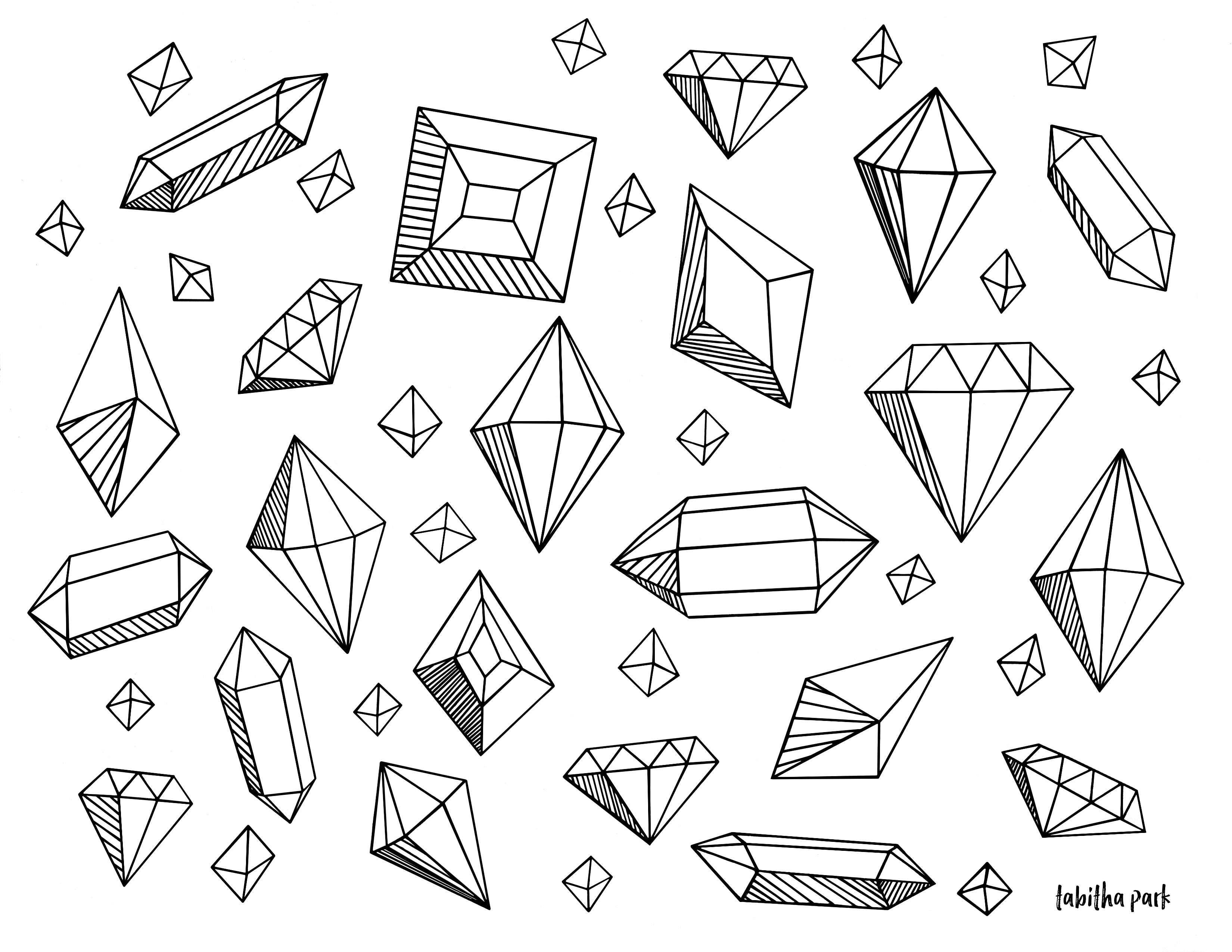 Crystal Coloring Pages  Gems Coloring Page
