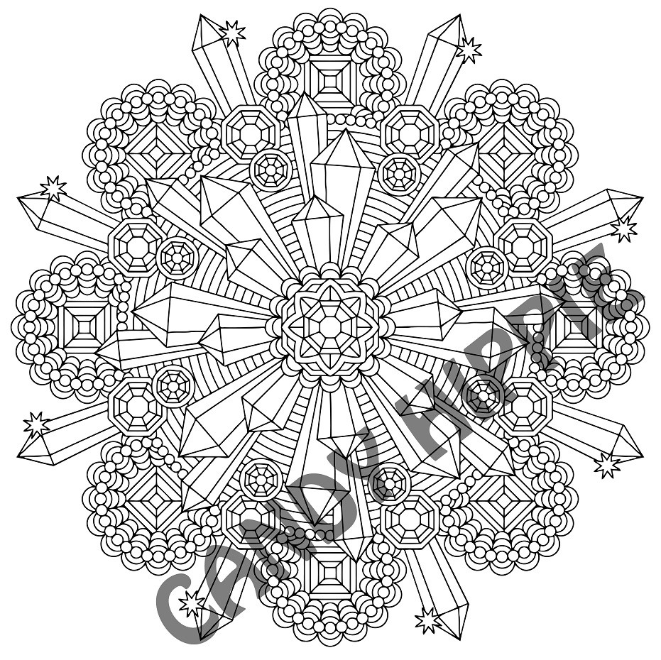 Crystal Coloring Pages  Queen s Quartz coloring page for adults by Candy Hippie