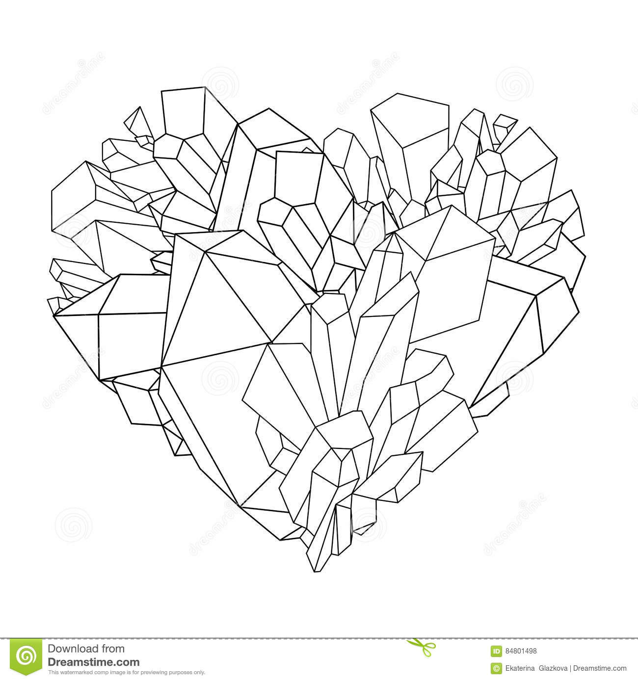 Crystal Coloring Pages  Drawn crystals crystal heart Pencil and in color drawn