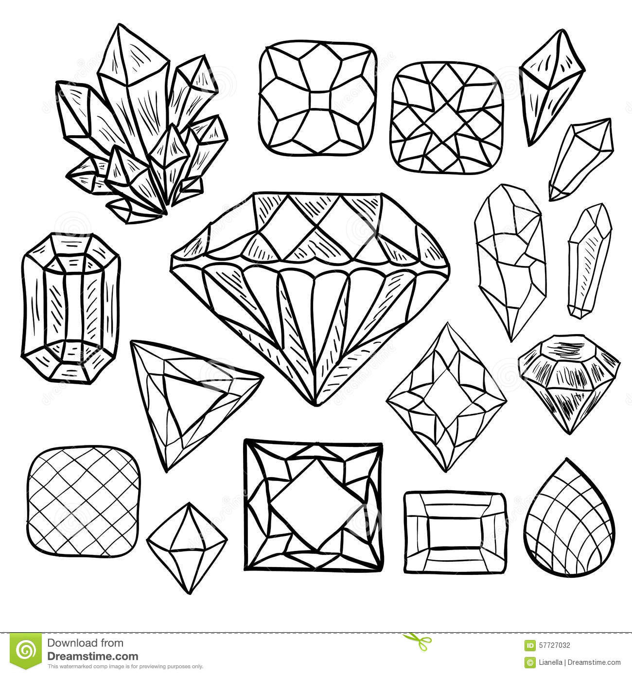 Crystal Coloring Pages  Hand Drawn Doodle Vector Jewelry Set Stock Vector