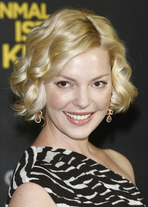 Curling Bob Hairstyle  Katherine Heigl Hairstyle Shiny Short Curly Bob Haircut
