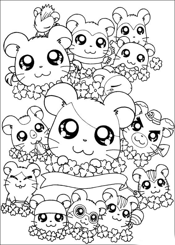 Cute Animal Coloring Pages For Girls  Hamtaro Cute Animals Coloring Pages