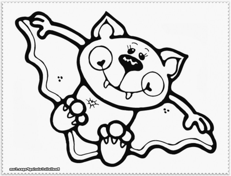 Cute Bat Coloring Pages  Halloween Bat Coloring Pages Moon And Witch Bats Broom