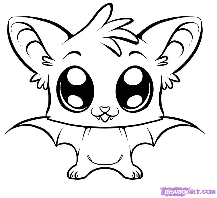 Cute Bat Coloring Pages  How to Draw a Cute Bat Step by Step forest animals
